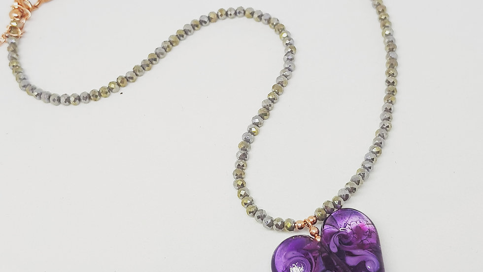 Purple Heart Lampwork Necklace