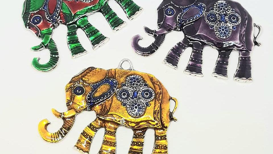 Enamel Elephant Pendants