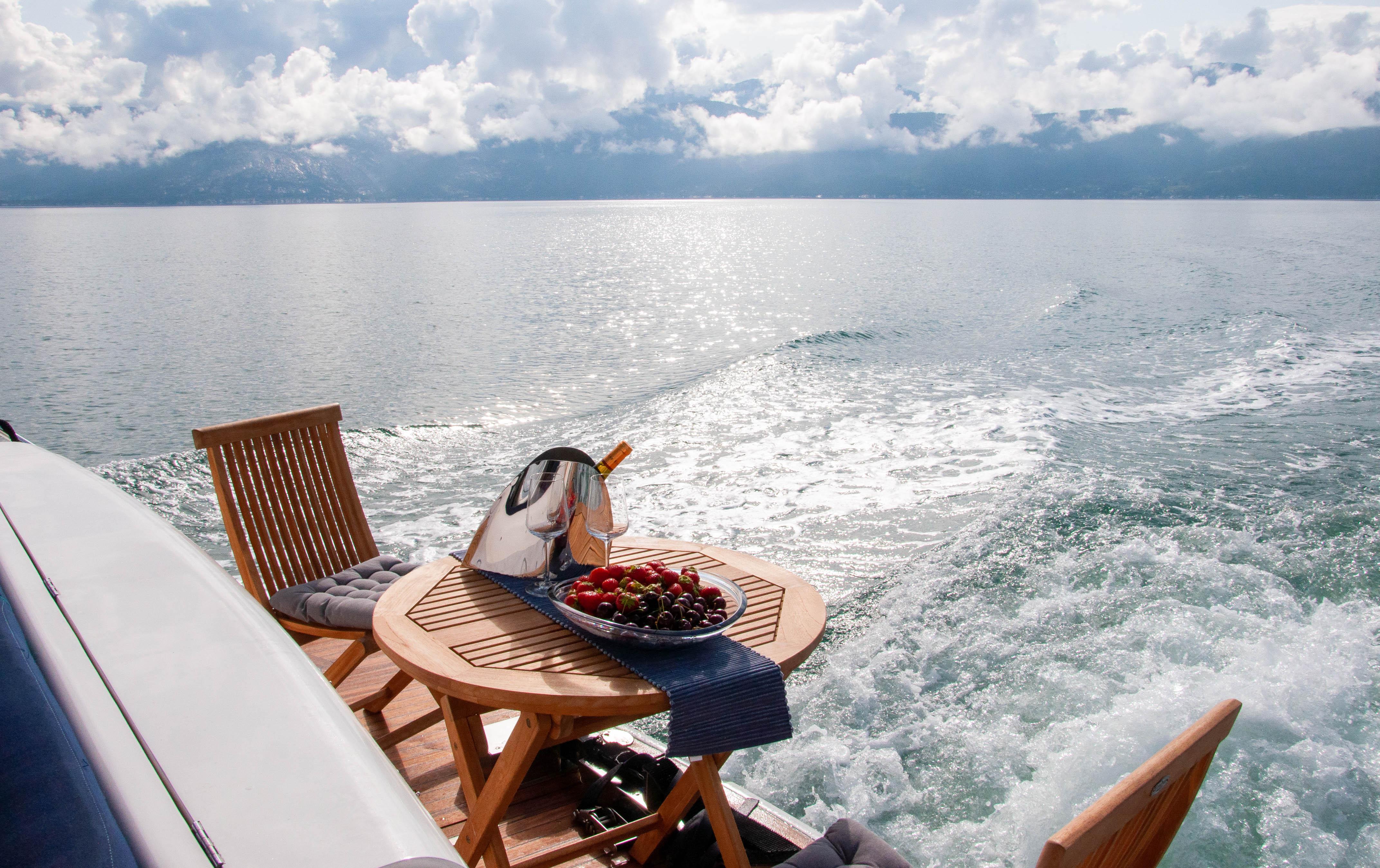 Iselina Bella aft deck fjord view
