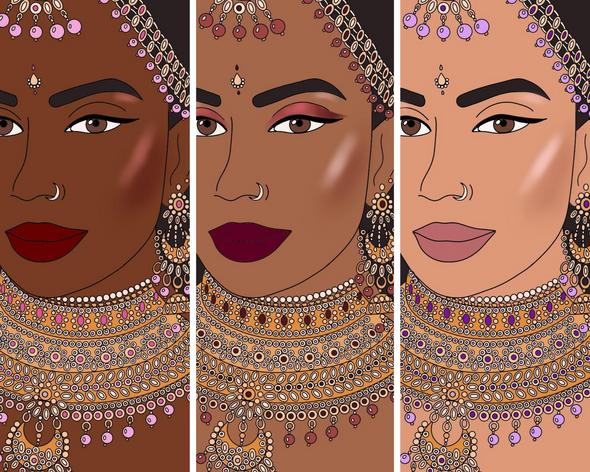 Three women with three skin tones