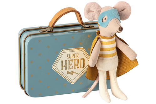 Maileg: Super hero mouse in suitcase
