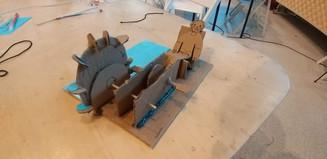 Paper prototype of water wheel bicycle game