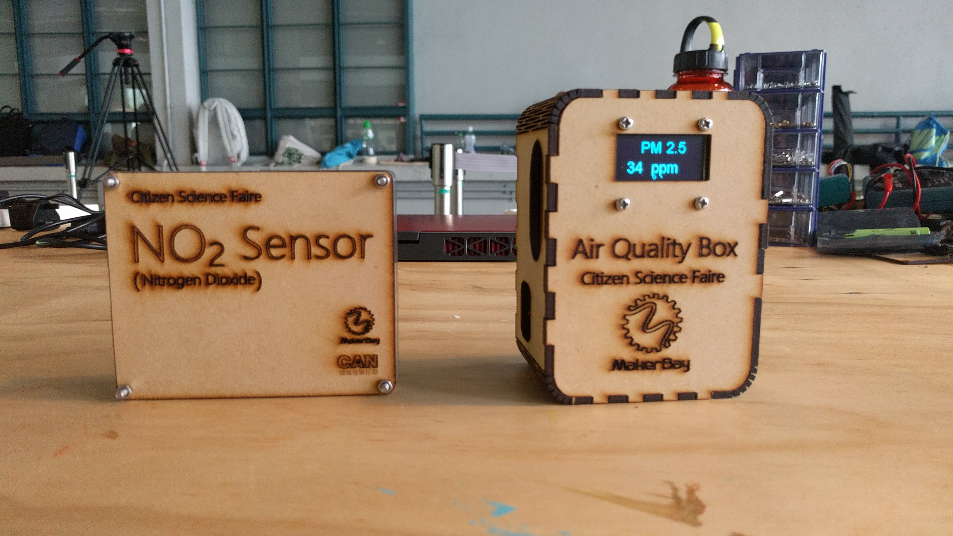 Two air quality monitoring devices
