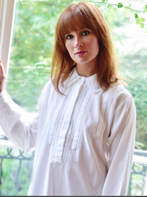 Florence' Ladies Long Sleeve Nightdress With Trimmed Collar