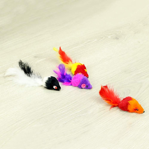 Funrarity Furry Colorful Mice Rattling Sound Cat Toy (Pack of 12)