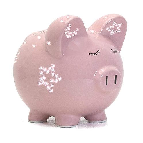 Child to Cherish Night Light Piggy Bank for Girls, Pink