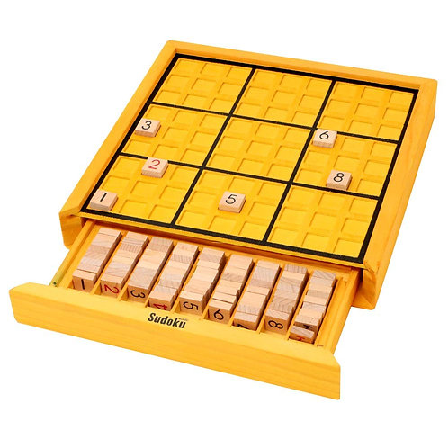 Funrarity Wooden Sudoku Puzzle Game Board with 100 Sudoku Puzzle