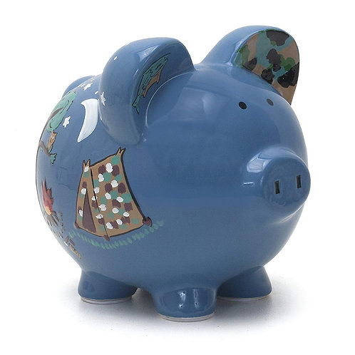 Child to Cherish Ceramic Piggy Bank for Boys, Camping