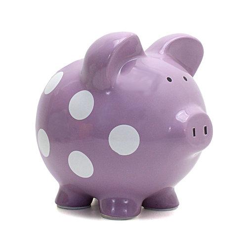 Child to Cherish Ceramic Polka Dot Piggy Bank for Girls, Purple