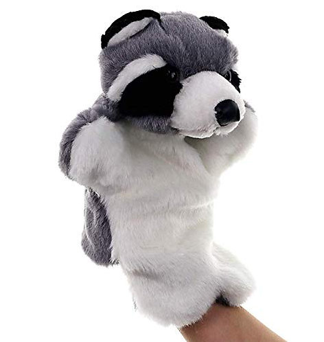 Funrarity Cute Fluffy Storytelling Role Playing Animal Hand Puppet (Raccoon)