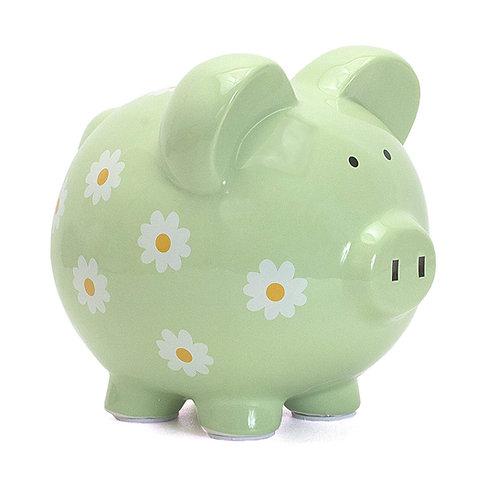 Child to Cherish Ceramic Daisy Piggy Bank for Girls, Green
