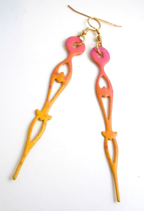 Sunset Bodied Clock Hand Earrings