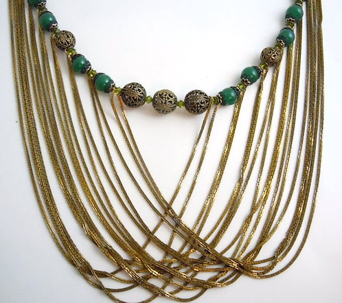 Strands of Gold Collar Necklace