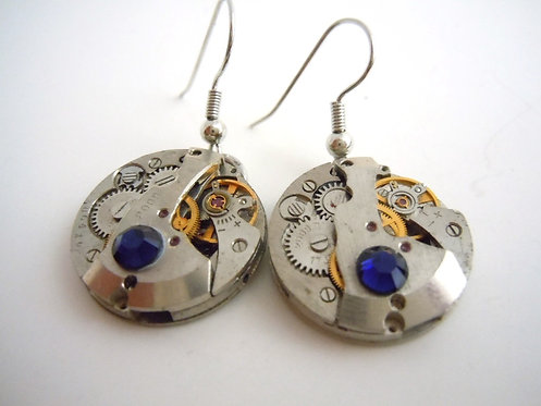 Dark Blue Jeweled Watch Gear Earrings