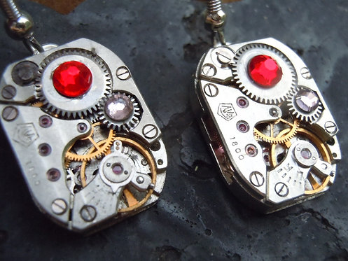 Fiery Red Watch Gear Earrings