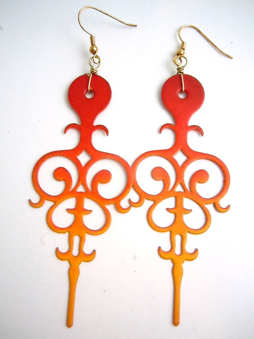 Into the Fire Filigree Clock Hand Earrings