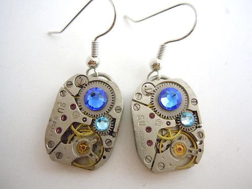 Shades of Blue Watch Gear Earrings