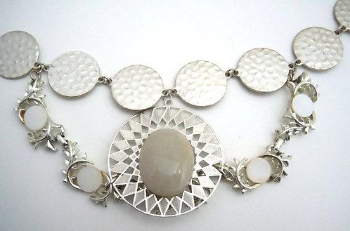 Silver Quartz Collar Necklace
