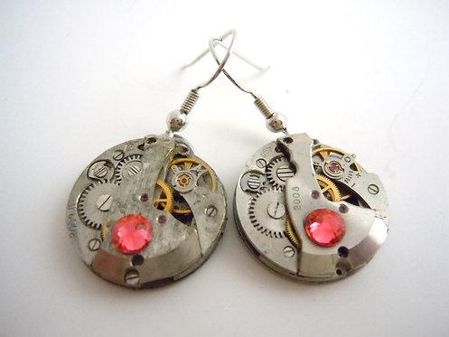 Coral Jeweled Watch Gear Earrings