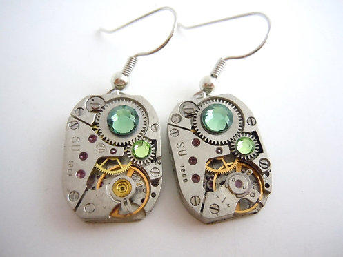 Green Mist Watch Gear Earrings