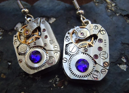 Deep Blue Jeweled Watch Gear Earrings