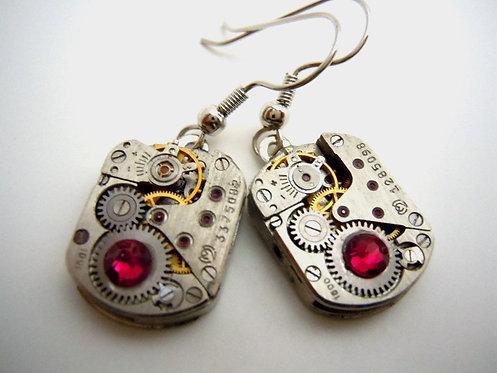 Cranberry Steampunk Watch Gear Earrings