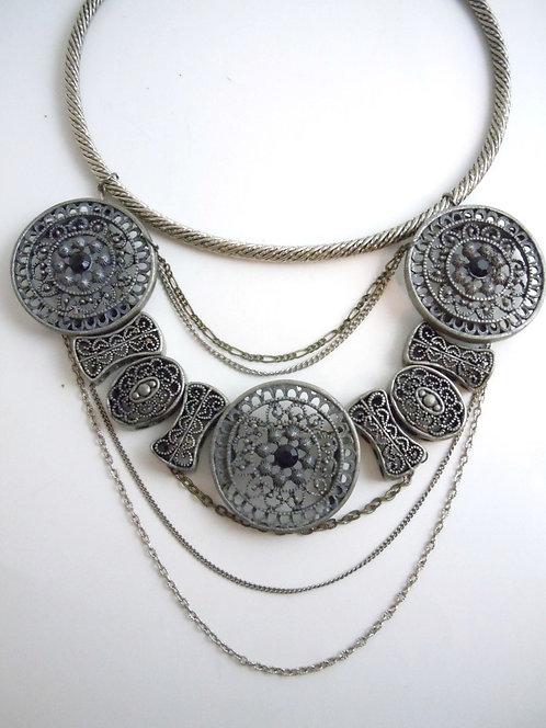 Silver Medallion Collar Necklace