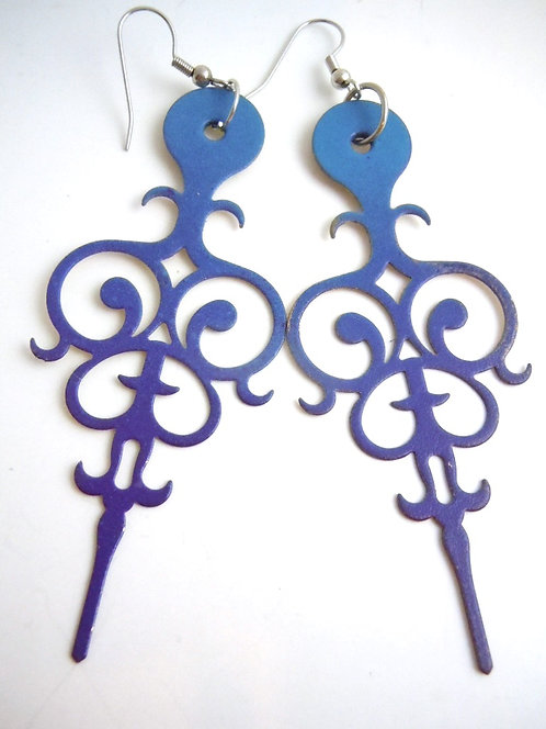 Sea Blue Filigree Clock Hand Earrings