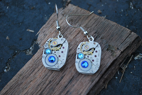 Blue Mist Watch Gear Earrings