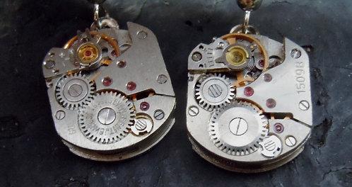 Small Steampunk Watch Gear Earrings