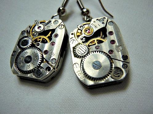 Rectangle Steampunk Watch Gear Earrings