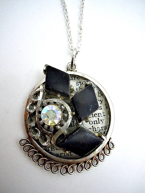 Black Whirlwind Collage Necklace
