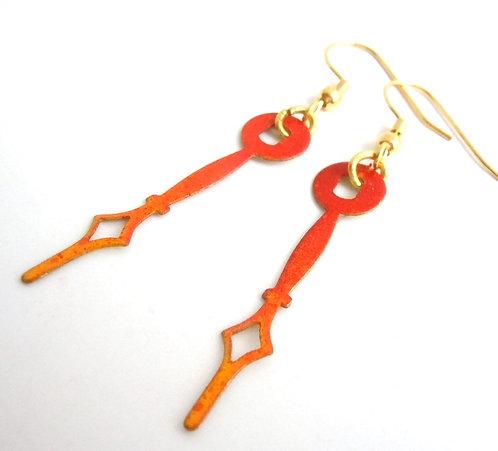 Fire Line Clock Hand Earrings