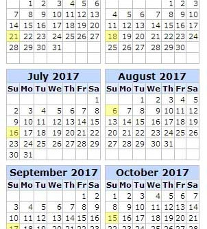 2017 Match Dates