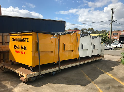 Front Lift Bins on Hook Lift Tray - Commercial Waste Management Sydney