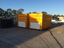 Stationary compactor container bins