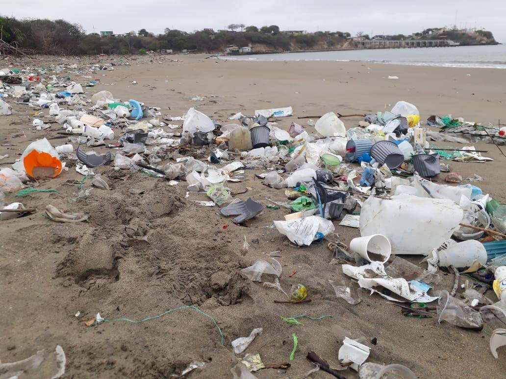 Contaminación por basura que llega del río Guayas y Estero Salado