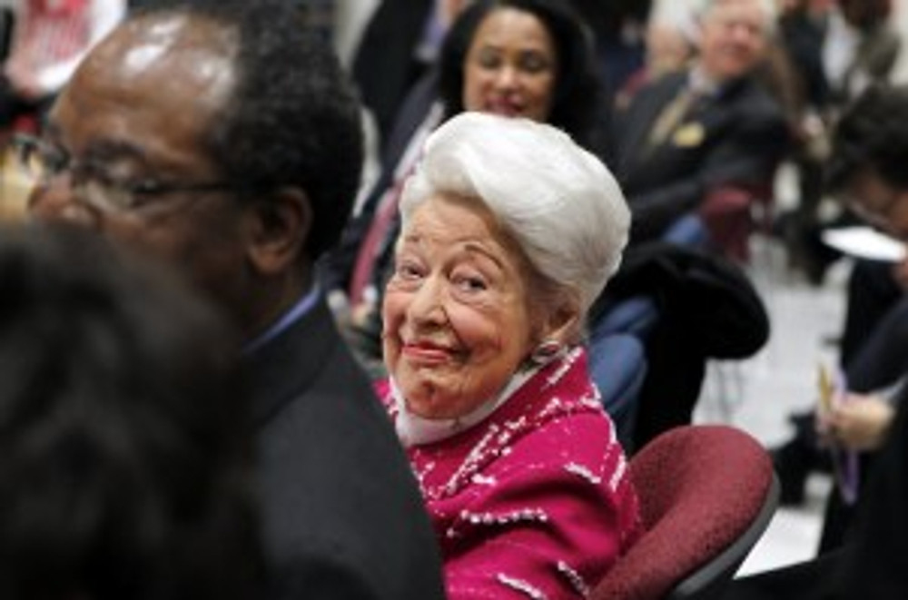 Ebby at the dedication of Ebby Halliday Elementary School on her 101st birthday. Photo courtesy of Dallas Morning News.