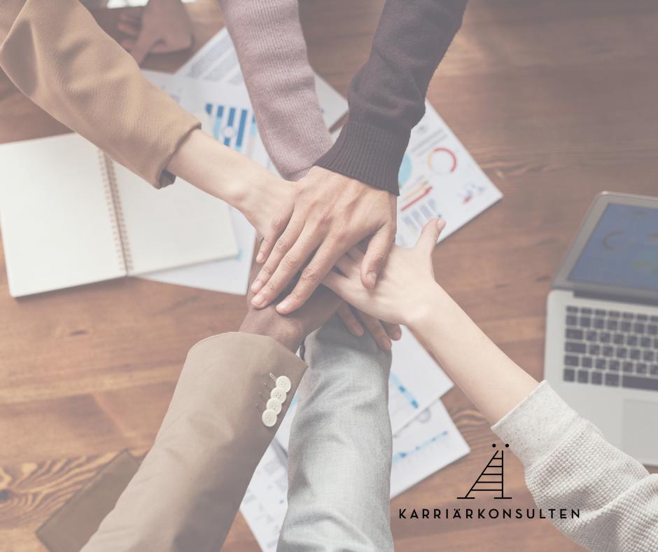 Karriärkonsultens logga, kontorsmiljö och ett team på sex personer som framgångsrikt arbetar med rusta och matcha.