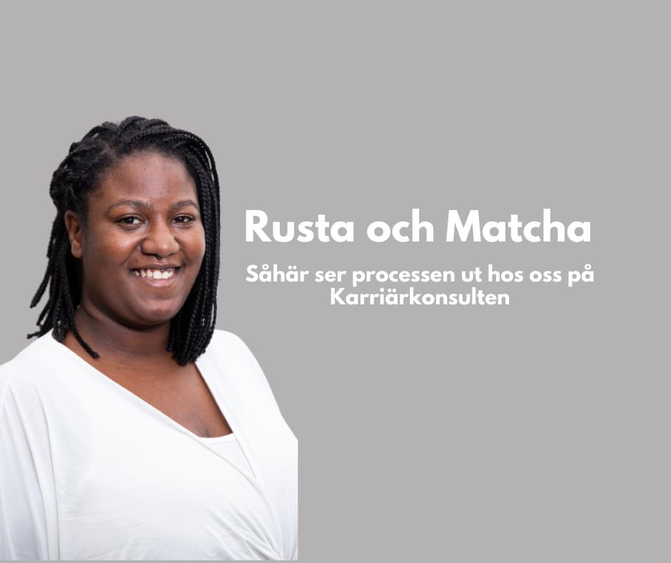 """Texten """"Rusta och matcha - vår process"""" mot en bakgrund av visitkort från Karriärkonsulten samt företagets logga."""