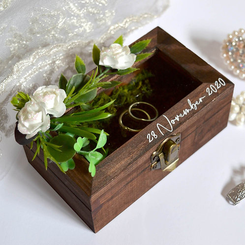 Wooden Ring Box With Glass Window (Ready To Order)