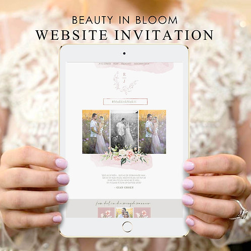 Beauty In Bloom Wedding Website Invitation (Ready To Order)