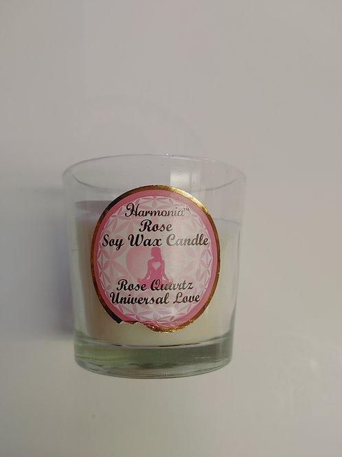 Harmania Rose Soy Wax Candle - Rose Quartz, Universal Love