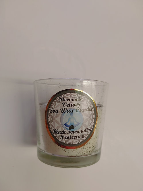Harmania Vetiver Soy Wax Candle - Black Tourmaline Protection