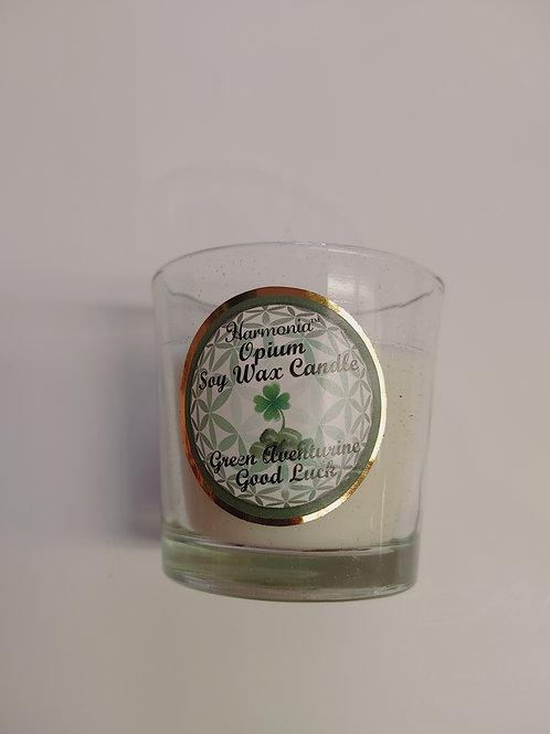 Harmania Opium Soy Wax Candle - Green Adventurine, Good Luck