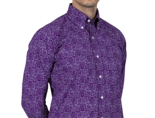 Relco long sleeve paisley shirt - Purple
