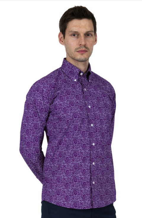 RELCO PURPLE PAISLEY SHIRT FRONT VIEW.pn