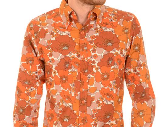 Orange Floral Retro Shirt