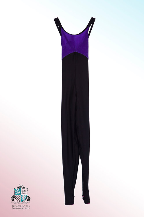 Purple and black velour and lycra catsuit