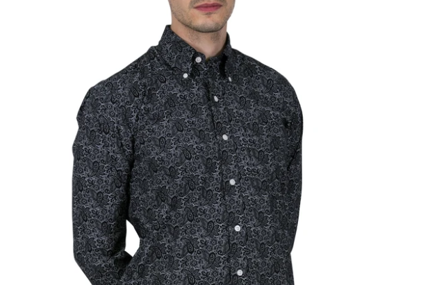 Relco long sleeve paisley shirt - Black